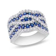Blue and White Sapphire Swirl Band in Sterling Silver - Zales