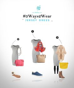 A Jersey dress, made of a stretchy fabric, is synonymous with simplicity and comfort. Here we share three ways to wear the same:1) Meet a couple of friends for sunday brunch. Feel relaxed in canvas shoes. Add some flavour through this floral stole. The large tote can carry your stuff for gym or dance class on the way back, or even bring back some urgent grocery.2) Walk around a lot in thong sandals. A bright bag and a long necklace can add some jazz to this otherwise dull look.3) Fly in ...