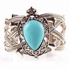 9cm Fashion Vintage Alloy Hollow Turquoise Water-drop Bead Bangle Bracelet