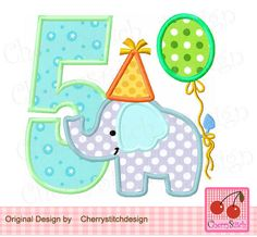 Birthday Elephant Number 5,  Baby Elephant with number 5, Birthday number applique -4x4 5x5 6x6 inch-Machine Embroidery Applique Design by CherryStitchDesign on Etsy