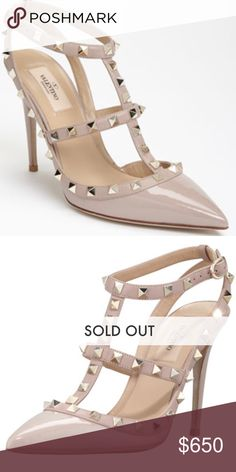 VALENTINO Rockstud T-Trap pump 100 % AUTHENTIC Valentino Rockstud T-strap high heel pump in the most desired color of all- nude patent! It's sold out everywhere! It has been lovingly used and very well taken care of!    Please note the heels have a teeny tiny scuff and the right foot on the inside has a scuff.  It is not noticeable at all when worn.  No scratches in front of straps.  PLEASE LOOK AT PICTURES!  ***PRICE FIRM!  This is an excellent price compared to all others on Poshmark…