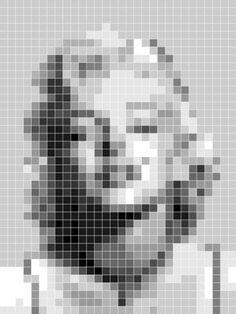 """Marilyn Monroe Pixelated"" by Jeff Vorzimmer Motifs Perler, Perler Patterns, Perler Bead Art, Perler Beads, Foto Logo, Pixel Design, Minecraft Pixel Art, Marilyn Monroe Art, Canvas Art"