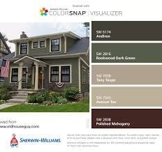 47 Ideas Exterior Paint Colora For House Green Olive White Trim Green Exterior Paints, Best Exterior Paint, Exterior Paint Colors For House, Paint Colors For Home, Paint Colours, Exterior Design, Craftsman Exterior Colors, Siding Colors For Houses, Green Siding