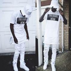 Amenappareluk White 'Forever Blessed' Block Print Tee, Asos White Jeans, White Reebok, Amenapparel Amen Omega Bucket Hat