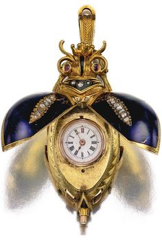 SWISS AN 18K YELLOW GOLD, ENAMEL AND DIAMOND-SET SCARAB-FORM WATCH FOR THE…