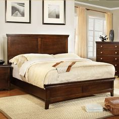 Dunhill Transitional Style Brown Cherry Finish Eastern King Size Bed Frame Set