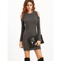 SheIn(sheinside) Grey Open Shoulder Ribbed Bodycon Dress ($15) ❤ liked on Polyvore featuring dresses, short cocktail dresses, grey bodycon dress, long sleeve t shirt dress, sexy cocktail dresses and bodycon dress