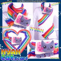 Kawaii Nyan Cat Kitten Scarf by *calgarycosplay on deviantART Chibi Couple, Cat Scarf, Nyan Cat, Skull Design, Cats And Kittens, Dinosaur Stuffed Animal, Girl Fashion, Kitty, Crafty