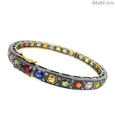 Diamond Sapphire Bridal 14k Gold Bracelet Vintage Style Bangle Silver Jewelry CY #raj_jewels #Bangle