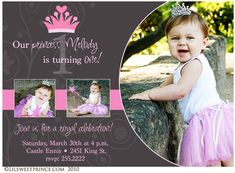 Royal Princess Themed Birthday Invite Purple Party First Girl