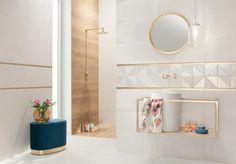 Reflection | Tubądzin Bathroom Design Luxury, Dream Apartment, Kintsugi, Warm Colors, Interior Inspiration, Floating Shelves, Reflection, Tiles, Bathtub