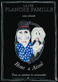 Mise en page d'une affiche pour un spectacle de marionnette. Dessins et collage : réalisation Cie Planche Famille.