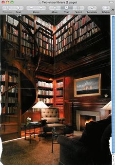 My favorite two-story library; it's more about the books than the decoration. Love this, love this!