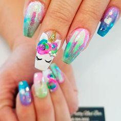18 Inspirational Unicorn Nail Designs  #Bright 3-D Unicorn Nails Art #nails #unicorn #nailart #nailpolish #naildesigns