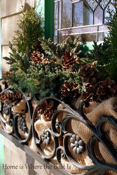 Love these window boxes! Use landscaping burlap in window boxes for a warmer feeling in a winter display Winter Window Boxes, Christmas Window Boxes, Christmas Planters, Christmas Porch, Outdoor Christmas Decorations, All Things Christmas, Winter Christmas, Christmas Wreaths, Holiday Decor