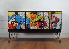 ★ Upcycled Retro Vintage Sideboard / tv Unit Marvel Decoupage Bespoke