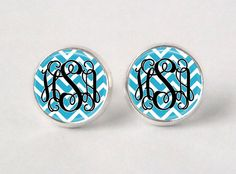 Monogram Stud Earrings - 452  - Chevron - Turquoise & Black. $8.95, via Etsy. Central blue and red RCHS blue and white\gold