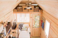 Lora's 192 square feet tiny house on wheels on Robins Air Force Base, Georgia. Tiny house is a Tumbleweed Cypress model.