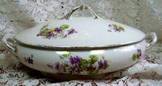 LIMOGES - Fleur Des Lys - Covered Porcelain Caserole Dish - Purple forget me nots. Vintage