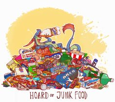 Unusual Dragon Hoards-Junk Food (version 2)-by Lauren Dawson