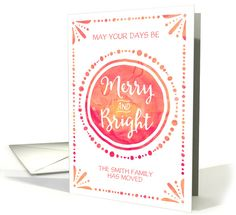 Watercolor merry and bright christmas card with customizable names for change of address in coral peach pink by Dreaming Mind Cards #anycardimaginable