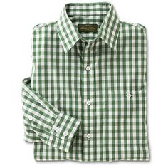Mens Gingham Shirt - Pure Cotton Gingham Long-Sleeved Shirt -- Orvis  available in purple