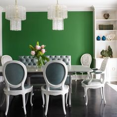 These rooms are built for entertaining guests and showcase the design personalities of the homeowners. Color helps to set the mood from formal to casual. Wall Colors, House Colors, Paint Colors, Dining Room Walls, Dining Chairs, Free Paint Samples, Dunn Edwards Paint, White Picket Fence, Transitional House