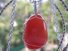 Carnelian agate pendant & silver necklace Chainmaille, Silver Pendant Necklace, Carnelian, Wire Wrapped Jewelry, Natural Stones, Agate, Christmas Bulbs, Sterling Silver, Holiday Decor