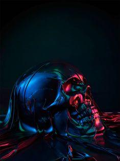 "French photographer Julien Palast uses vibrant colours to explore the human form in his new photo series entitled ""Skindeep"". via Zilla Julien Palast's website Skull Artwork, Skull Island, Neon, Grid Design, Photo Series, Skull Tattoos, Skull And Bones, Memento Mori, Black Art"