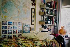 Dorm Inspiration #maps #dorm #bedding