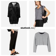 Jedes dieser Einzelstücke bietet ein Detail: Oversize-Mantel, T-Shirt mit angeschnittenen Ärmel, kurz geschnittene Hose und Crop Sweater. Hier entdecken und shoppen: http://sturbock.me/gVB