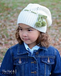 CROCHET PATTERN - It Girl Slouchy - a slouchy hat with tie & pom-poms in 3 sizes (Toddler, Child, Adult) - Instant PDF Download