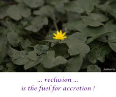 … #reclusion is the #fuel for #accretion !  ( #Samara )