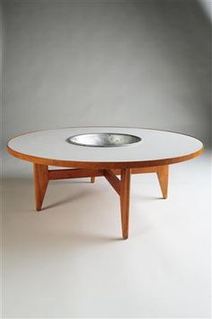 Geogre Nelson; Wood, Laminate and Aluminum Occasional Table for Herman Miller, 1950s.