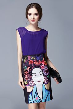3a39f347b15c Europe 2015 New Fashion women new purple chiffon shirt + printing package  hip skirt suit crop top and skirt set