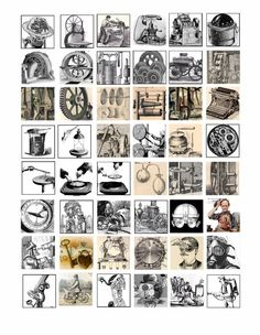 antique machines inventions science steampunk hardware clip art 1 inch squares collage sheet