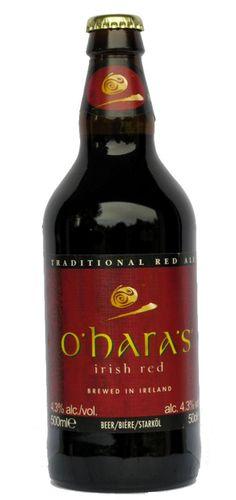 Cerveja O'Hara's Irish Red, estilo Irish Red Ale, produzida por Carlow Brewing Company, Irlanda. 4.3% ABV de álcool.