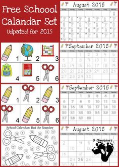 Free 2015 School Calendar - AB pattern cards, 6 school themed cards and 5 different single page calendar sheets - 3Dinosaurs.com