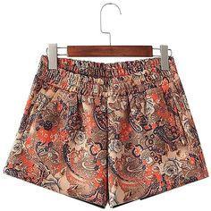 Yoins Yoins Folk Style Printed Suedette Shorts (€25) ❤ liked on Polyvore featuring shorts, black, patterned shorts, print shorts, black shorts and shiny shorts