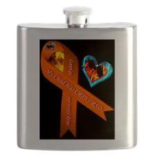 My Child Has CRPS RSD Fire & Ice Heart BLACK Flask