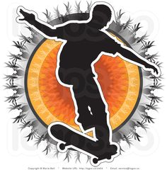royalty-free-silhouetted-skateboarder-over-a-tribal-bursting-sun-by-maria-bell-2454.jpg (1024×1044)