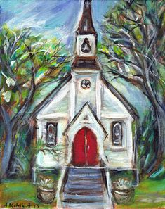 Little cute whimsical church chapel 8 x 10 by petartbyangie, $205.00