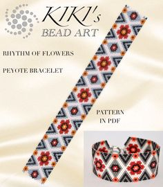 Peyote Pattern for bracelet - Rhythm of flowers peyote bracelet cuff pattern in PDF - instant download