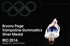 Bryony Page became the first British woman to win an Olympic trampoline medal by claiming silver in Rio.  Page, 25, was beaten to gold by 0.425 points as Canada's Rosannagh MacLennan won a second successive Olympic title with a score of 56.465.  World champion Li Dan of China took bronze, while Britain's other finalist, Katherine Driscoll, came sixth.