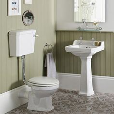 Carlton Low Level Bathroom Suite - Low level toilet with 2TH basin