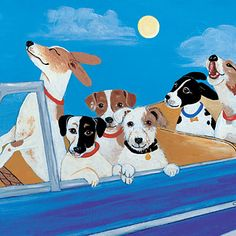 """Love Dogs? Southern Living is featuring some favorite Southern artists who specialize in different styles of pet portraiture. This one is titled """"Car-Jacking"""" <3"""