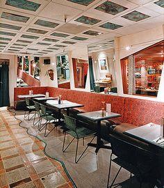New Mexican, Mexican Cooking, Copper Sheets, Asymmetrical Design, Sacramento, Restaurant, Interior, Table, Furniture