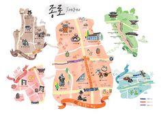 산그림 픽쳐북일러스트 Map Projects, Cool Birthday Cards, Leaflet Design, Travel Illustration, Editorial, Japan Design, Information Design, City Maps, Book Design