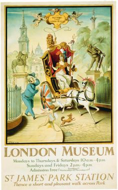 Retro Poster 'London Museum - St. James Park Station' by Rex Whistler, 1928 - http://retrographik.com/retro-poster-london-museum-st-james-park-station-by-rex-whistler-1928/ - advertising, London, museum, retro, transport, travel, tube, UK, underground