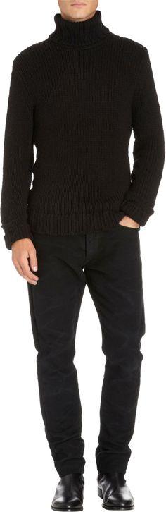 Ralph Lauren Black Label Denim Chunky Knit Turtleneck Sweater   mens chunky knit sweater   black turtleneck   wantering